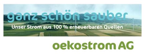 Logo Oekostrom AG - 100% Strom aus erneuerbaren Quellen