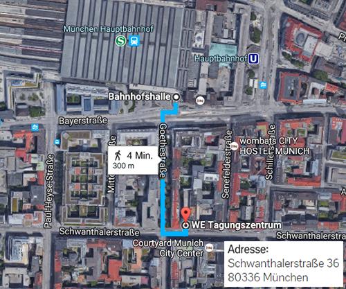 Wegbeschreibung von Hauptbahnhof München zum Excel Kursstandort