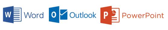 Bildserie von Ansichten Word, Outlook und PowerPoint