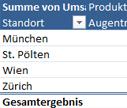 Auschnitt von Datenschnitt und Pivot Tabelle