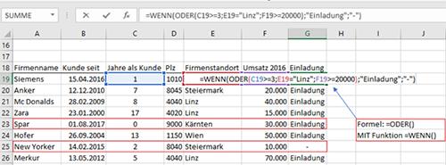 Erklärung MS Excel Funktion ODER - Bild 2