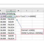Syntax der Funktion UND kombiniert mit der Funktion WENN