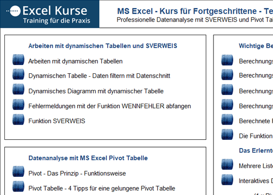 Kursunterlagen für MS Excel Kurs EinsteigerInnen